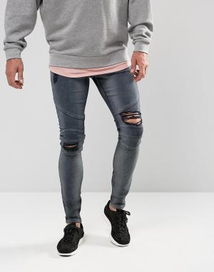 ASOS Черно-синие супероблегающие рваные джинсы в байкерском стиле. Цвет: серый