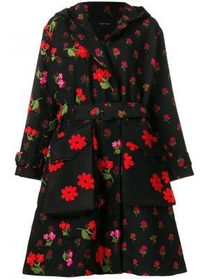 Пальто с цветочным принтом Simone Rocha. Цвет: чёрный