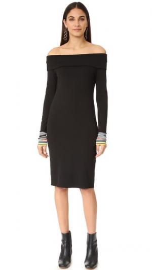Платье в рубчик с приспущенными плечами Edition10. Цвет: голубой