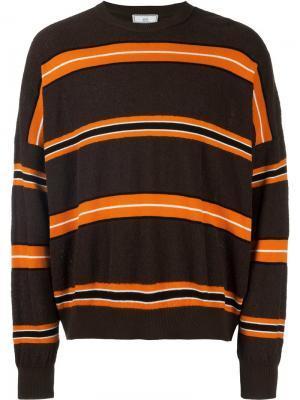 Полосатый свитер мешковатого кроя Ami Alexandre Mattiussi. Цвет: коричневый