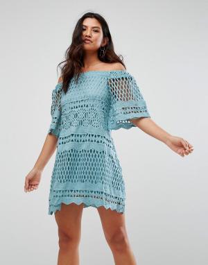 Girl In Mind Кружевное свободное платье с широким вырезом. Цвет: синий
