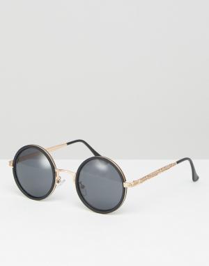 ASOS Черные круглые солнцезащитные очки в оправе цвета розового золота. Цвет: черный