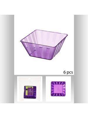 Набор cалатников квадратных пластиковых для пикника из 6 шт,  150 мл JJA. Цвет: фиолетовый