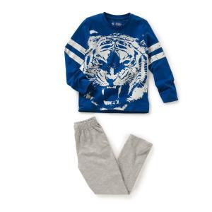 Пижама из джерси, 100% хлопка R kids. Цвет: синий/серый меланж