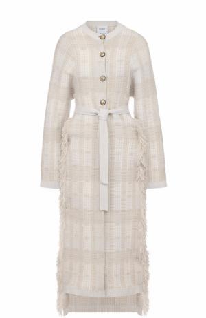 Кашемировое пальто с высокими разрезами и поясом Barrie. Цвет: бежевый