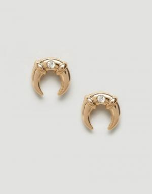DesignB London Серьги-гвоздики со стразами Design B. Цвет: золотой