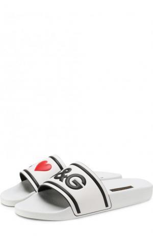 Резиновые шлепанцы Ciabatta с декором Dolce & Gabbana. Цвет: черно-белый