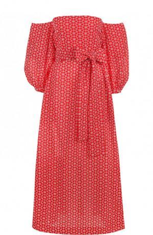Хлопковое платье-миди с открытыми плечами и принтом Lisa Marie Fernandez. Цвет: красный