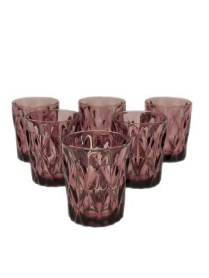 Набор стаканов Алькор для воды и виски из цветного стекла, 6шт. DEEPOT. Цвет: фиолетовый