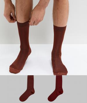 ASOS 2 пары носков. Цвет: оранжевый