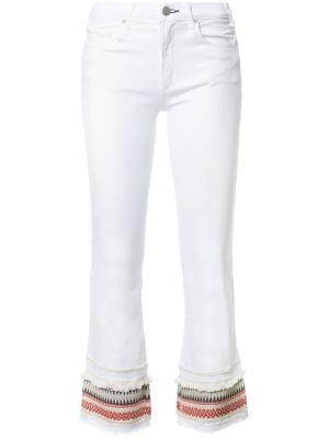 Укороченные джинсы с отделкой в полоску Mcguire Denim. Цвет: белый