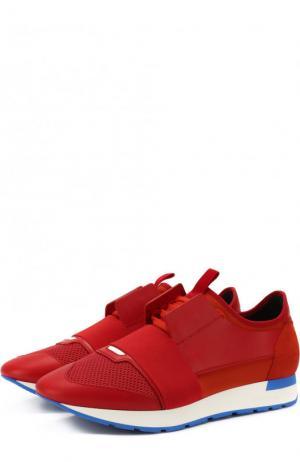 Комбинированные кроссовки Race на шнуровке Balenciaga. Цвет: красный
