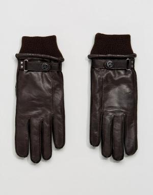 PS Paul Smith Изготовленные в Италии коричневые перчатки из козьей кожи Smit. Цвет: коричневый
