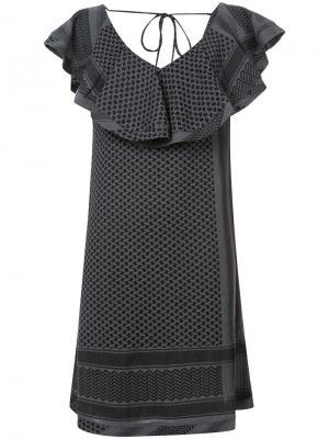 Платье с V-образным вырезом оборками Cecilie Copenhagen. Цвет: зелёный