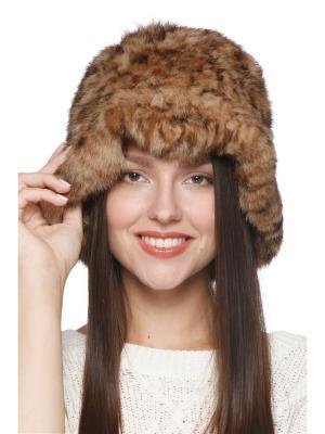 Шляпка Незнакомка Вязаный мех. Цвет: бежевый, коричневый