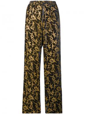 Прямые брюки с узором Aries. Цвет: коричневый
