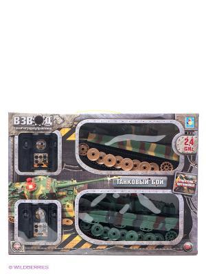 Игровой набор Танковый бой на радиоуправлении 1Toy. Цвет: хаки