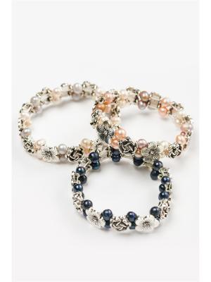 Комплект из 3-х браслетов Oceania. Цвет: темно-синий, белый, серый