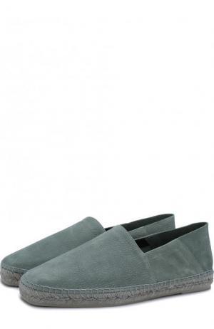 Кожаные эспадрильи на джутовой подошве Tom Ford. Цвет: светло-голубой