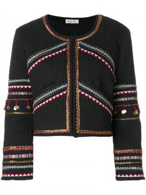 Декорированный укороченный пиджак Love Shack Fancy. Цвет: чёрный