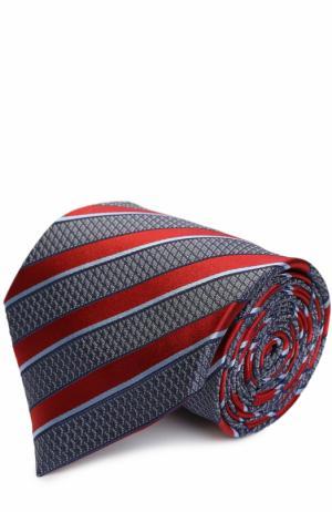 Шелковый галстук в полоску Ermenegildo Zegna. Цвет: красный