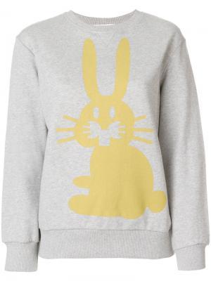 Толстовка с принтом кролика Peter Jensen. Цвет: серый