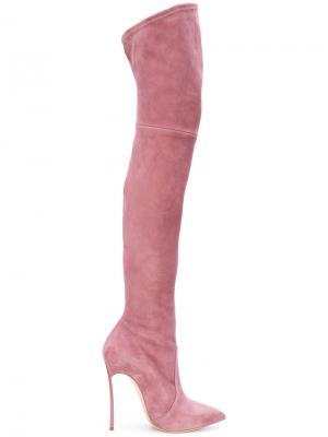 Ботильоны на шпильке Casadei. Цвет: розовый и фиолетовый
