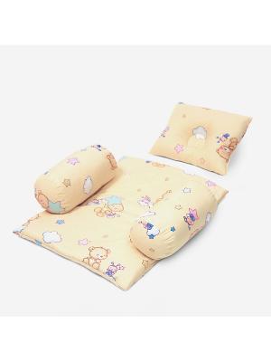 Подушка BabySet Мишки, 50х40 БИОСОН. Цвет: голубой, бежевый
