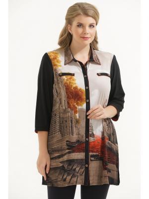 Рубашка Maria. Цвет: черный, коричневый