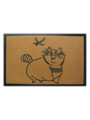 Коврик придверный Кот и стрекоза MoiKovrik. Цвет: бежевый