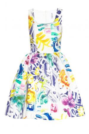 Платье из хлопка 160659 Infinee. Цвет: разноцветный