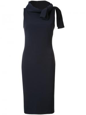 Приталенное платье с завязкой на воротнике Badgley Mischka. Цвет: синий