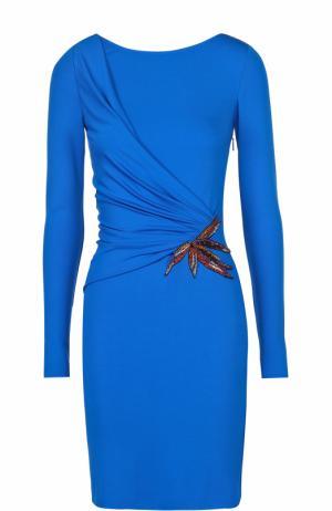 Платье-футляр с драпировкой и декоративной отделкой Emilio Pucci. Цвет: синий