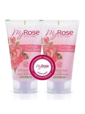 Набор: Очищающий гель для лица My Rose of Bulgaria, (50 мл X 2 шт) Lavena. Цвет: розовый, белый