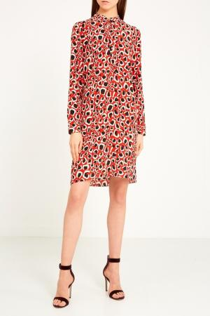Красное платье с принтом Gucci. Цвет: multicolor