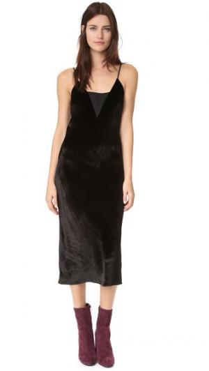 Бархатное платье Cassidy Ramy Brook. Цвет: голубой