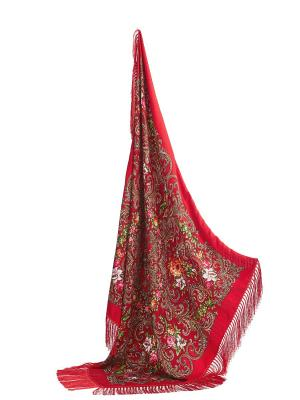 Платок с павлопосадским узором и длинной бахромой, 111 x cm Nothing but Love. Цвет: красный, бордовый, розовый