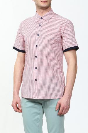 Рубашка Karflorens. Цвет: розовый, черный полоска
