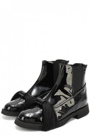 Лаковые ботинки с бантом Aleksandersiradekian. Цвет: черный