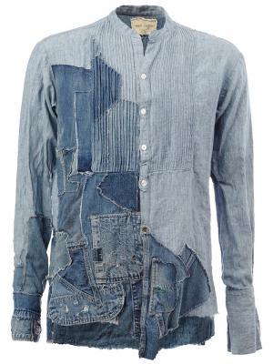 Джинсовая рубашка в стиле пэчворк Greg Lauren. Цвет: синий