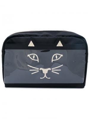 Feline make up bag Charlotte Olympia. Цвет: чёрный