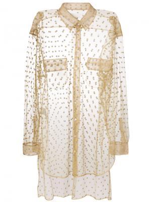 Блестящая прозрачная декорированная рубашка Maison Margiela. Цвет: телесный