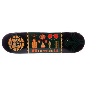 Дека для скейтборда  S5 Travel Hawaii 32 x 8.0 (20.3 см) Habitat. Цвет: зеленый,оранжевый