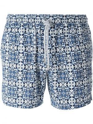 Плавательные шорты с сплошным узором Capricode. Цвет: синий