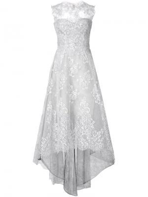 Расклешенное кружевное платье Monique Lhuillier. Цвет: белый