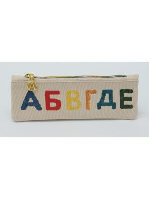 Пенал из гобелена Русские  буквы Якимок. Цвет: молочный