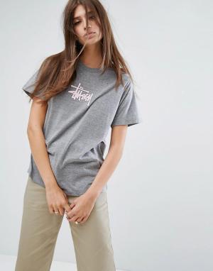 Stussy Оверсайз-футболка с логотипом. Цвет: черный