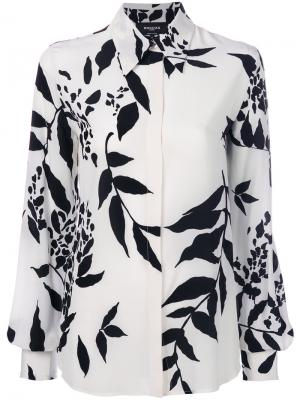 Рубашка с лиственным принтом Rochas. Цвет: белый