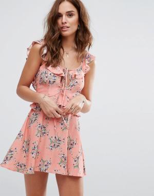 Flynn Skye Чайное платье с принтом. Цвет: мульти