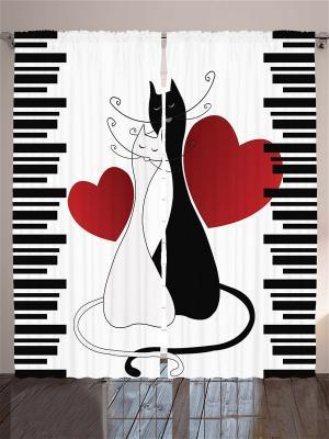 Комплект фотоштор Влюблённые белая кошка и чёрный кот с алыми сердцами полосками, 290*265 см Magic Lady. Цвет: красный, белый, черный